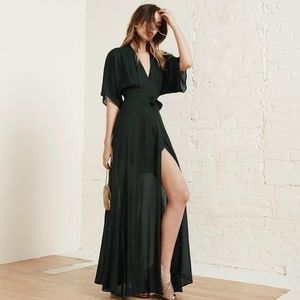 Reformation Winslow Dress in Evergreen size L NWT